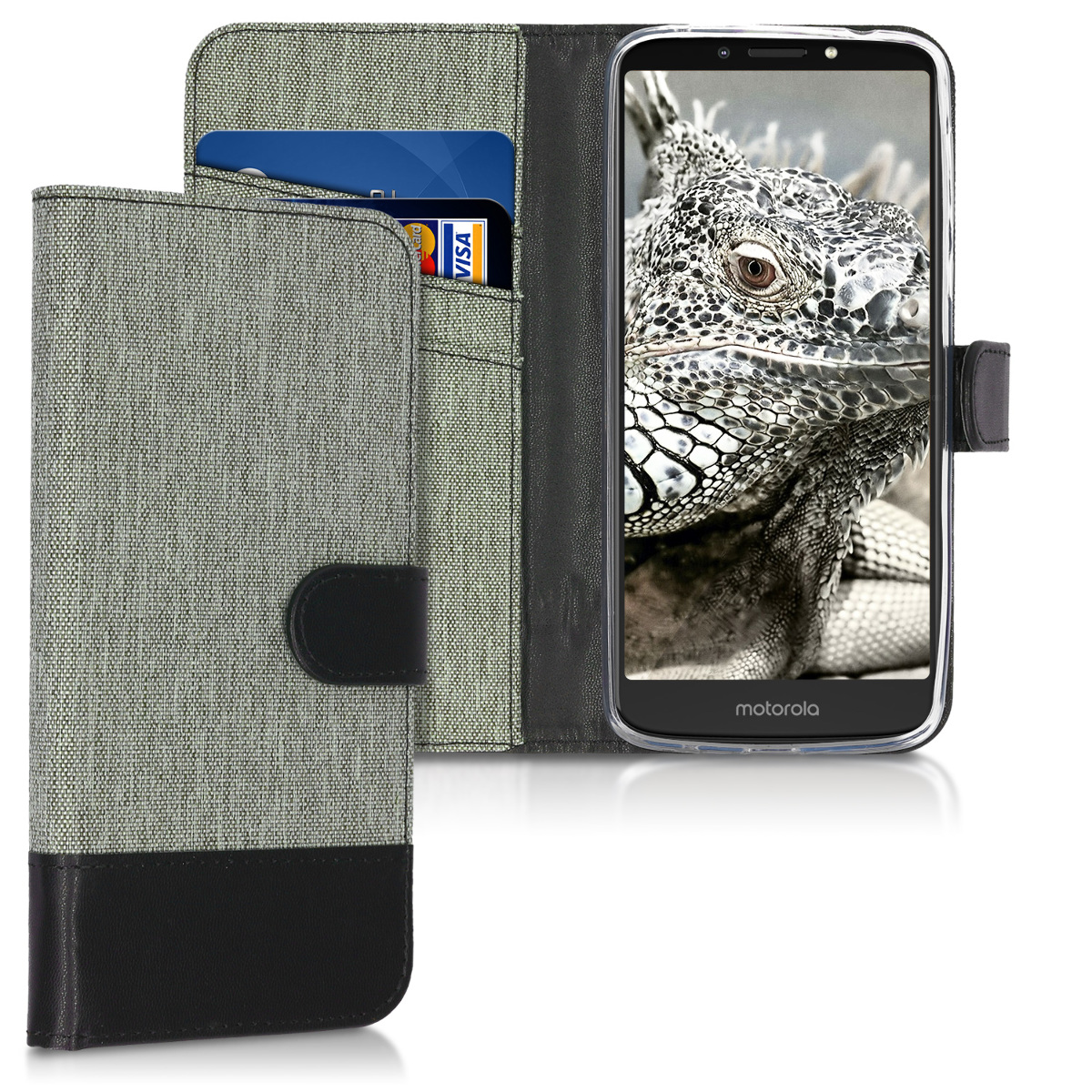 KW Θήκη Πορτοφόλι Motorola Moto E5 Plus - Συνθετικό δέρμα - Grey / Black (45032.01)