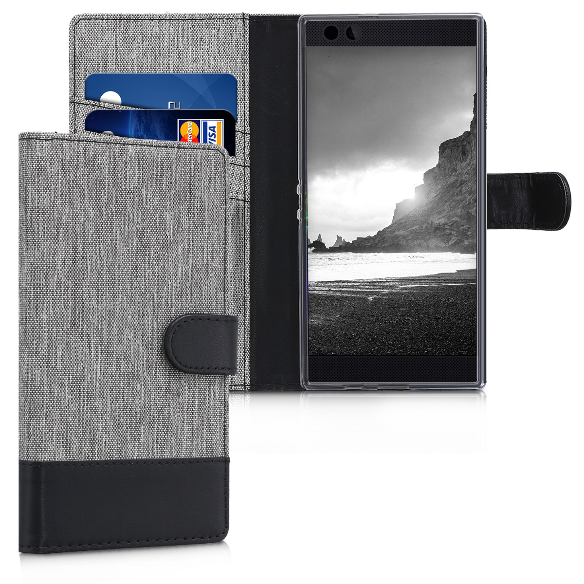 KW Θήκη-Πορτοφόλι Razer Phone - Γκρι/Μαύρο  (45035.01)