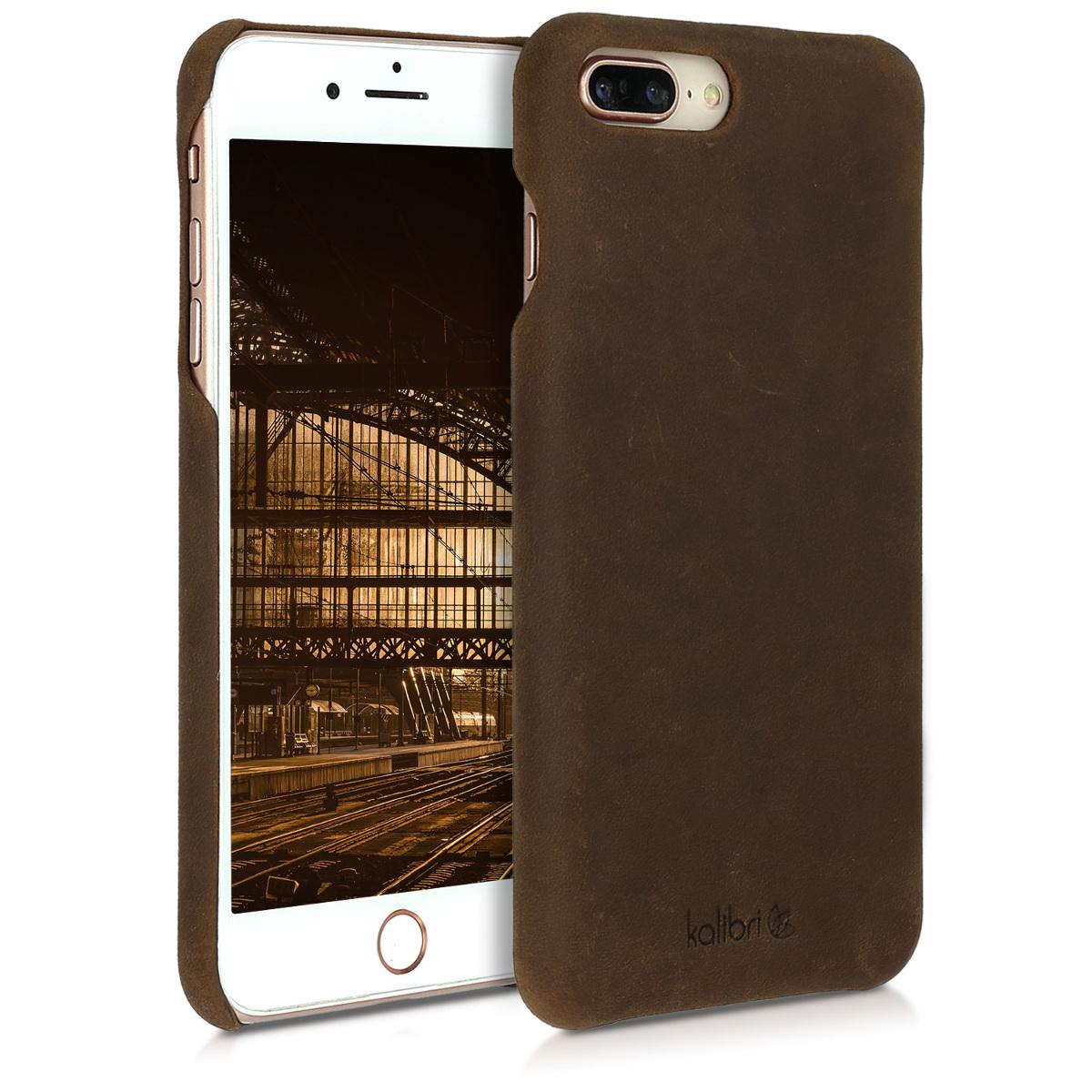 Kalibri Σκληρή Δερμάτινη Θήκη iPhone 8 Plus / 7 Plus - Καφέ (45095.05)