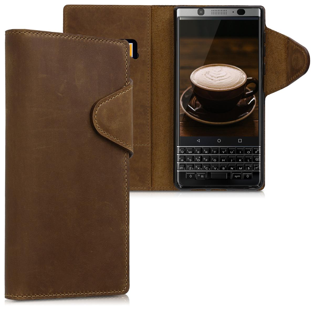 Kalibri Δερμάτινη Suede Θήκη - Πορτοφόλι Blackberry KEYone - Brown (45166.05)