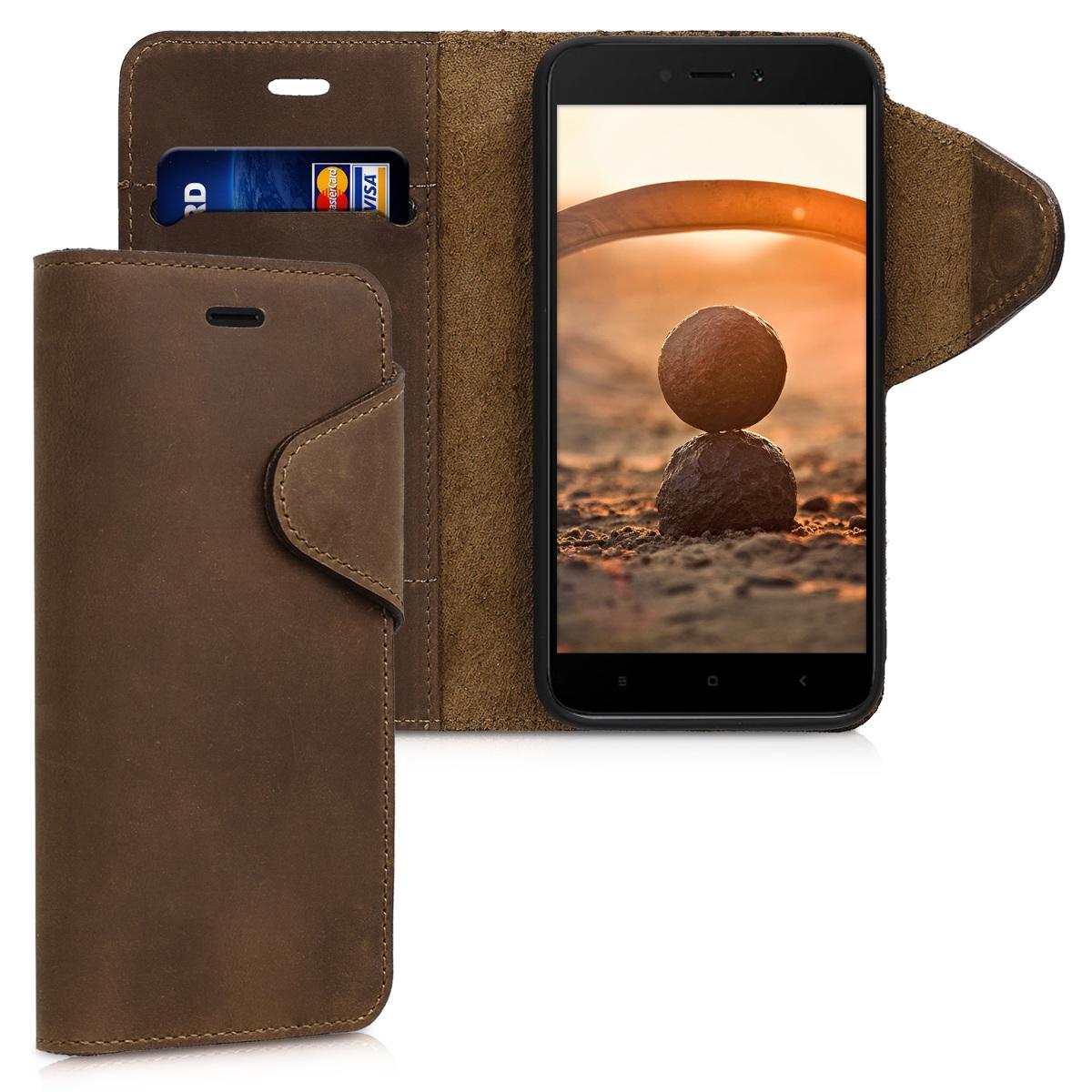 Kalibri Δερμάτινη Suede Θήκη - Πορτοφόλι Xiaomi Redmi 5A -  Brown (45167.05)