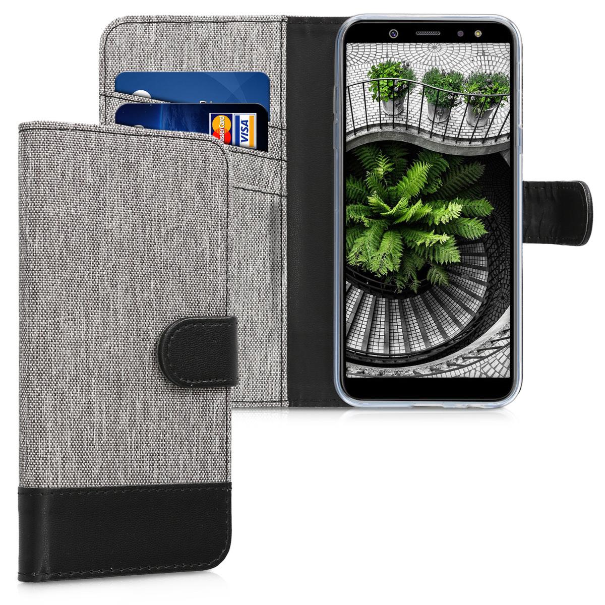 KW Θήκη - Πορτοφόλι Samsung Galaxy A6 (2018) - Grey / Black (45249.22)