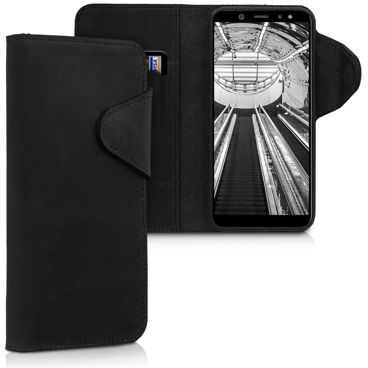 Kalibri Δερμάτινη Suede Θήκη - Πορτοφόλι  Samsung Galaxy A6 (2018) -  Black (45252.01)