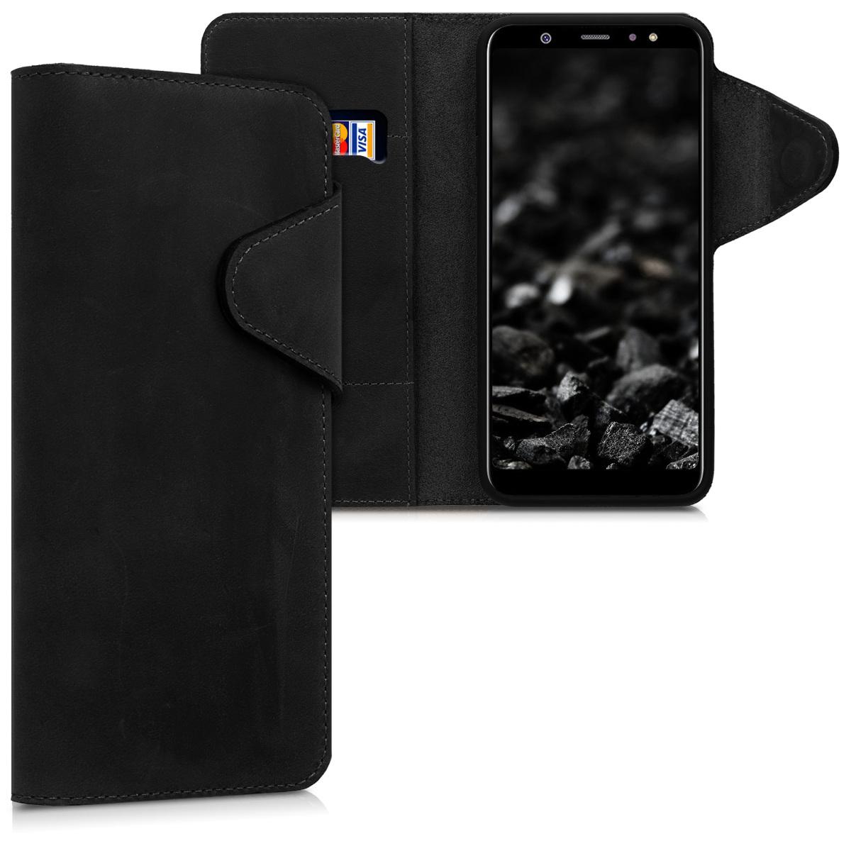 Kalibri Δερμάτινη Suede Θήκη - Πορτοφόλι Samsung Galaxy A6 Plus 2018 - Black (45265.01)