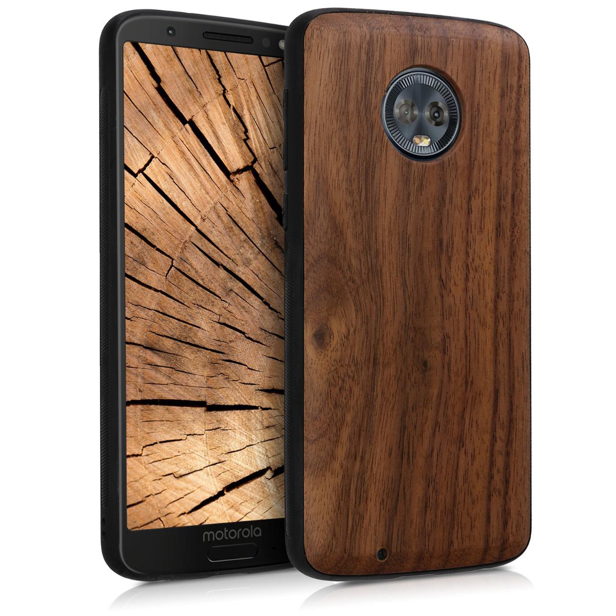 KW Σκληρή Ξύλινη Θήκη Motorola Moto G6 - Dark Brown (45288.18)