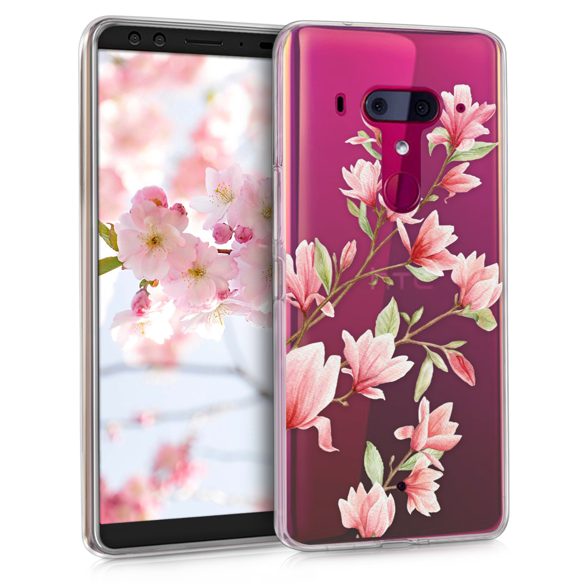 KW Θήκη Σιλικόνης HTC U12+ - Διάφανη με σχέδιο λουλουδιών (45293.02)