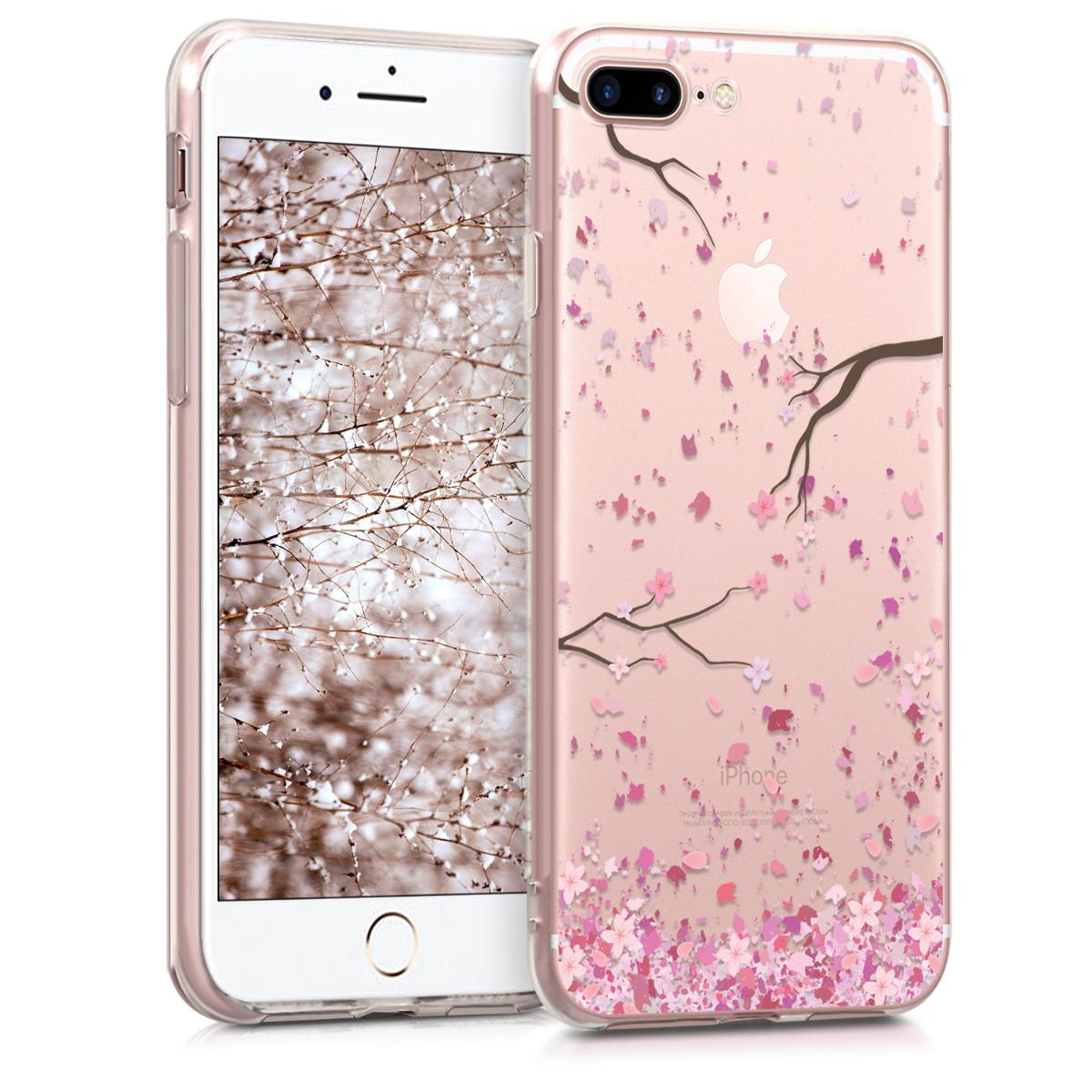 KW Θήκη Σιλικόνης Apple iPhone 7 Plus / 8 Plus - Cherry Blossoms - Light Pink / Dark Brown / Transparent (45352.12)