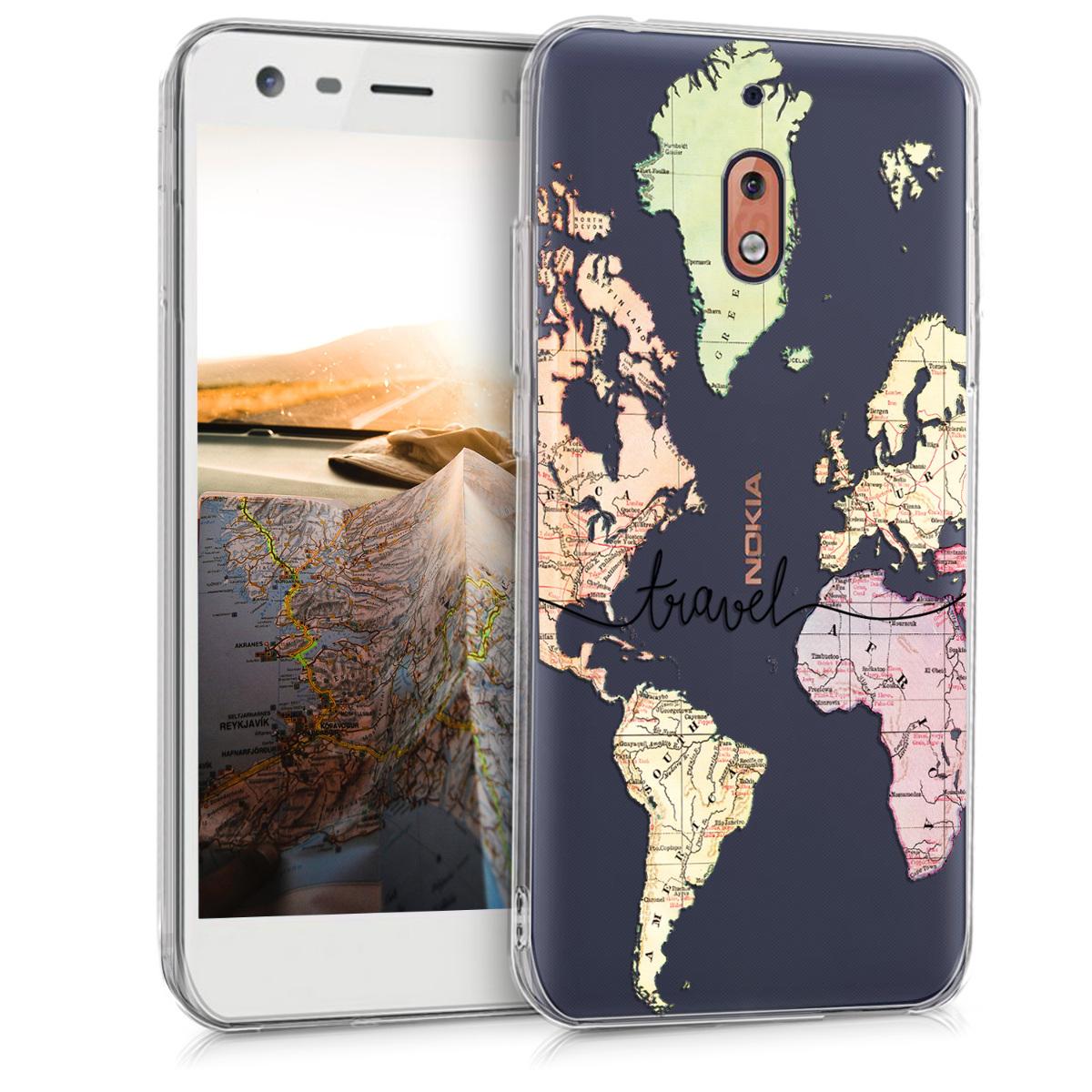 KW Θήκη Σιλικόνης Nokia 2.1  - Black / Multicolor / Transparent (45386.04)