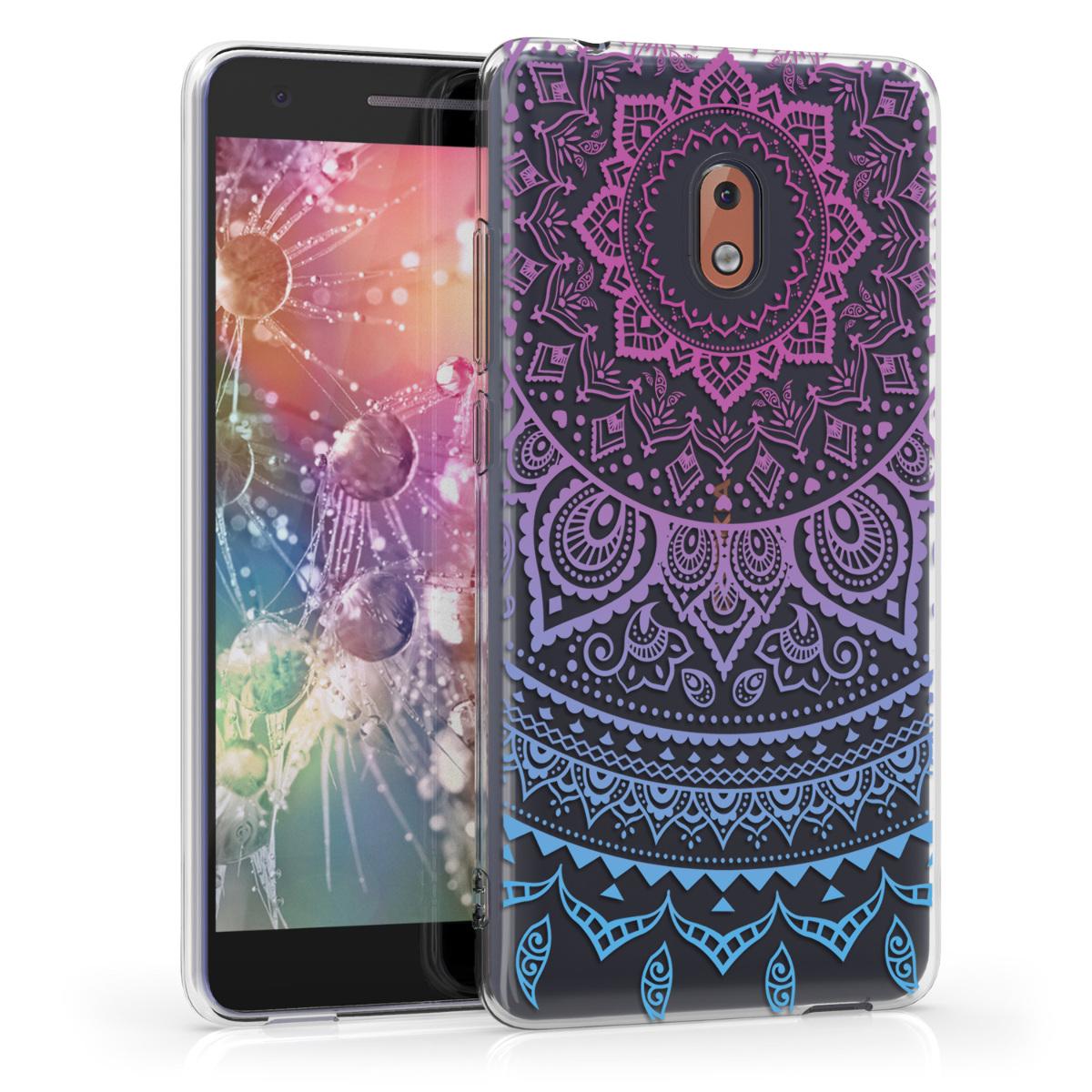 KW Θήκη Σιλικόνης Nokia 2.1 - Crystal Clear - Blue / Dark Pink / Transparent (45386.05)