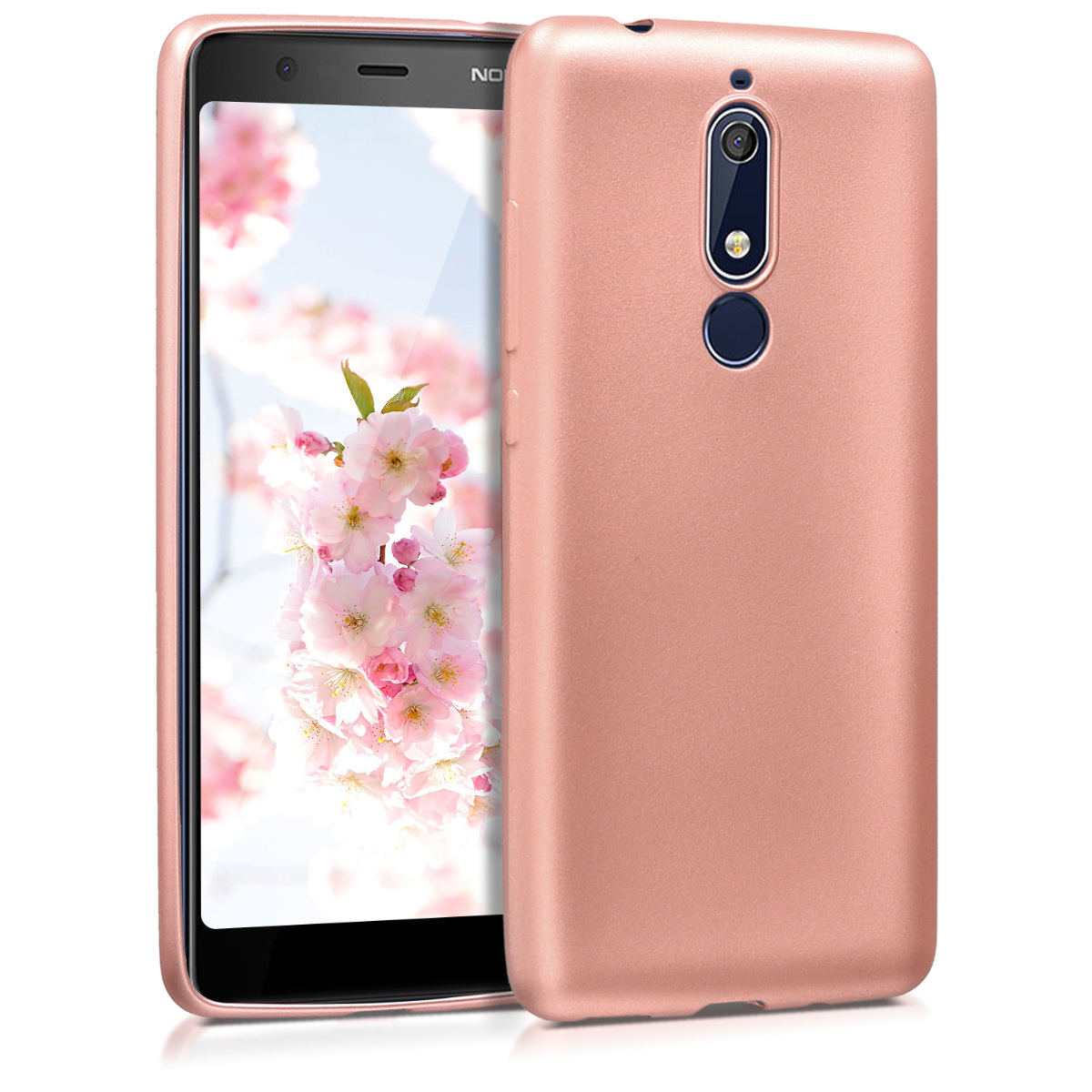 KW Θήκη Σιλικόνης Nokia 5.1 (2018) - Soft Flexible Shock Absorbent - Metallic Rose Gold (45402.31)