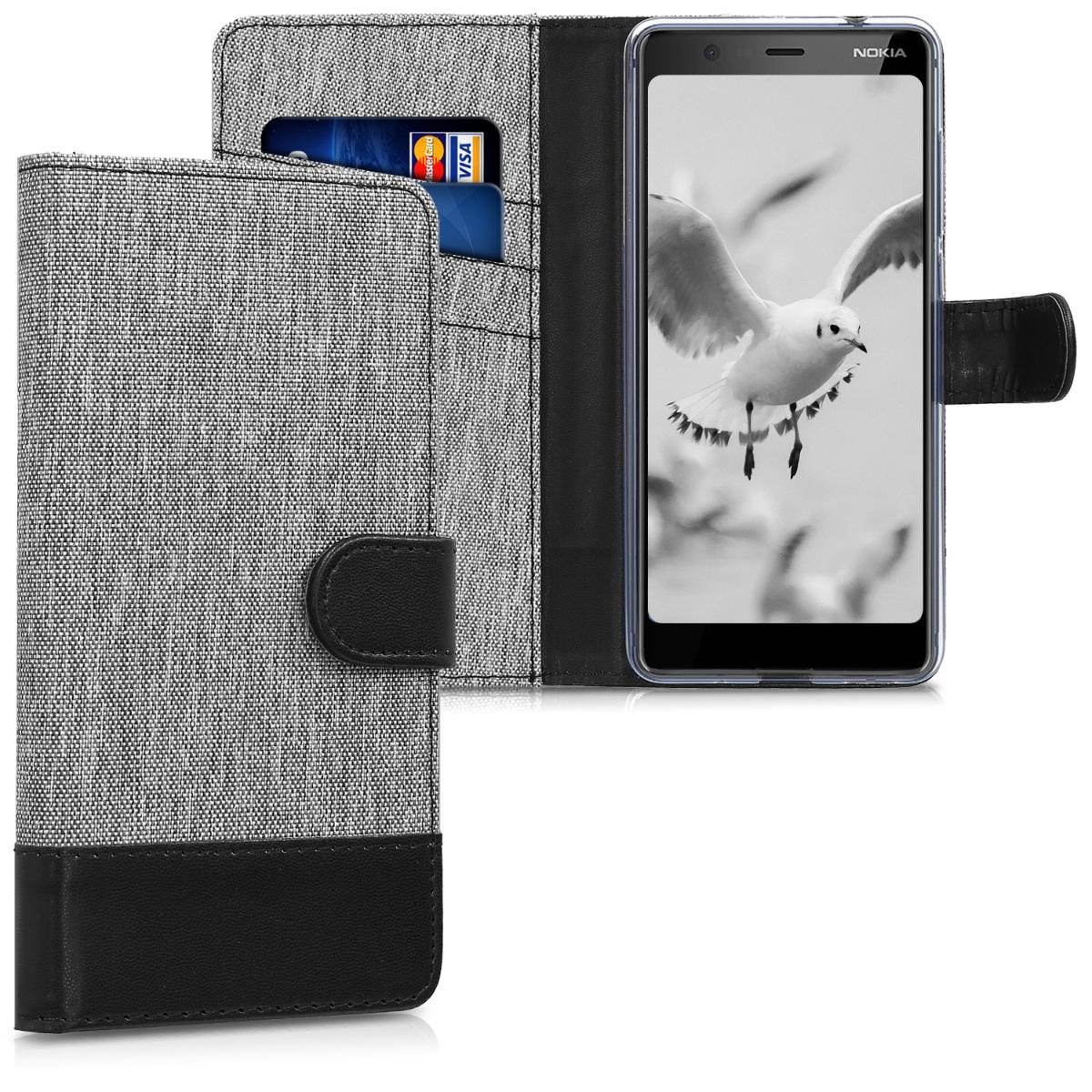KW Θήκη-Πορτοφόλι Nokia 5.1 - Γκρι/ Μαύρο (45405.01)