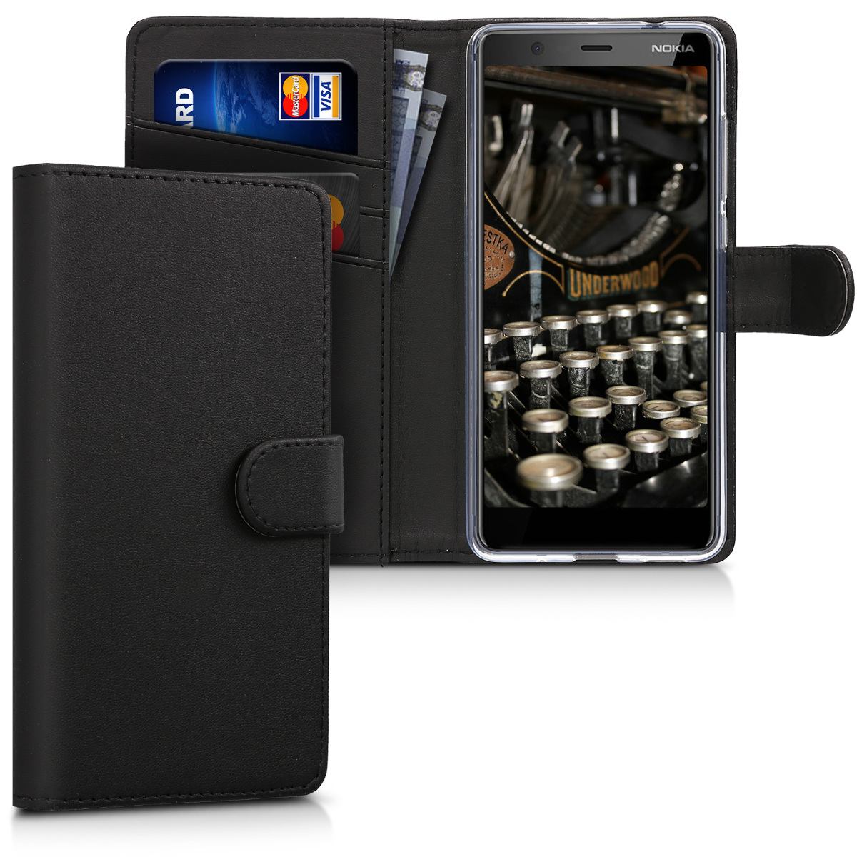 KW Θήκη - Πορτοφόλι Nokia 5.1 2018 - Black (45406.01)
