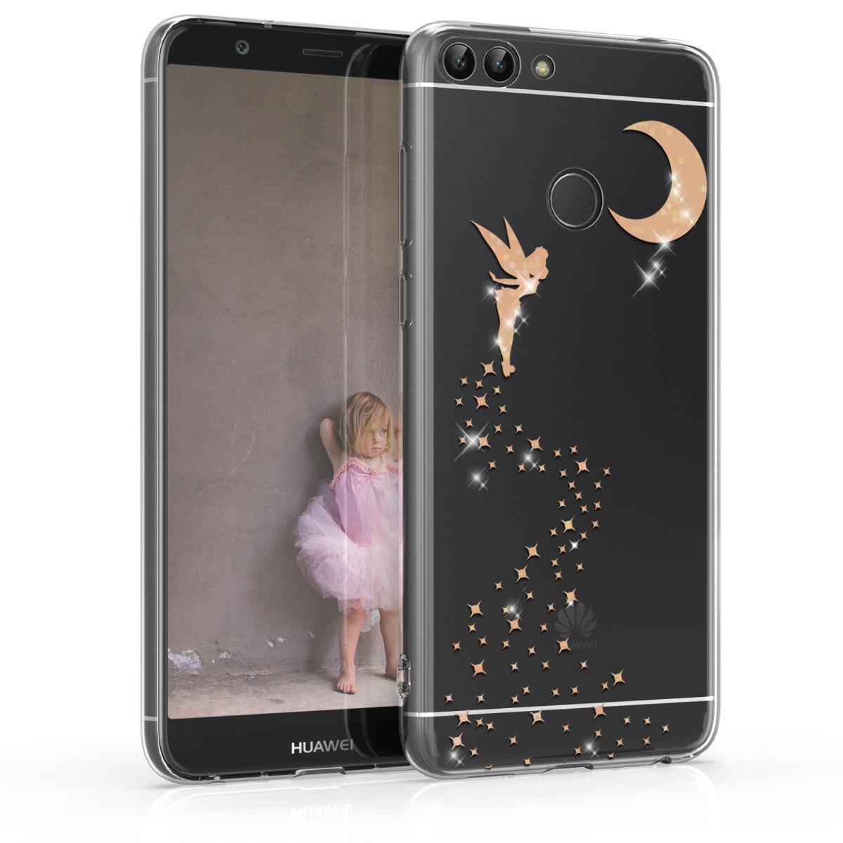 KW Θήκη Σιλικόνης Huawei P Smart - Soft TPU Silicone Cover - Rose Gold / Transparent (45415.15)