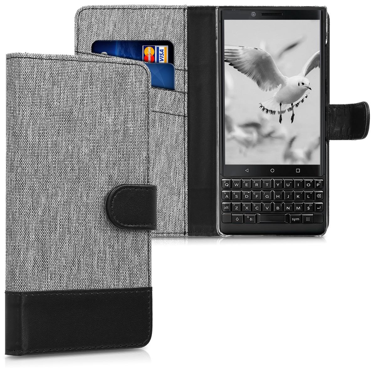KW Θήκη-Πορτοφόλι Blackberry KEY2 - Grey / Black Canvas (45436.22)