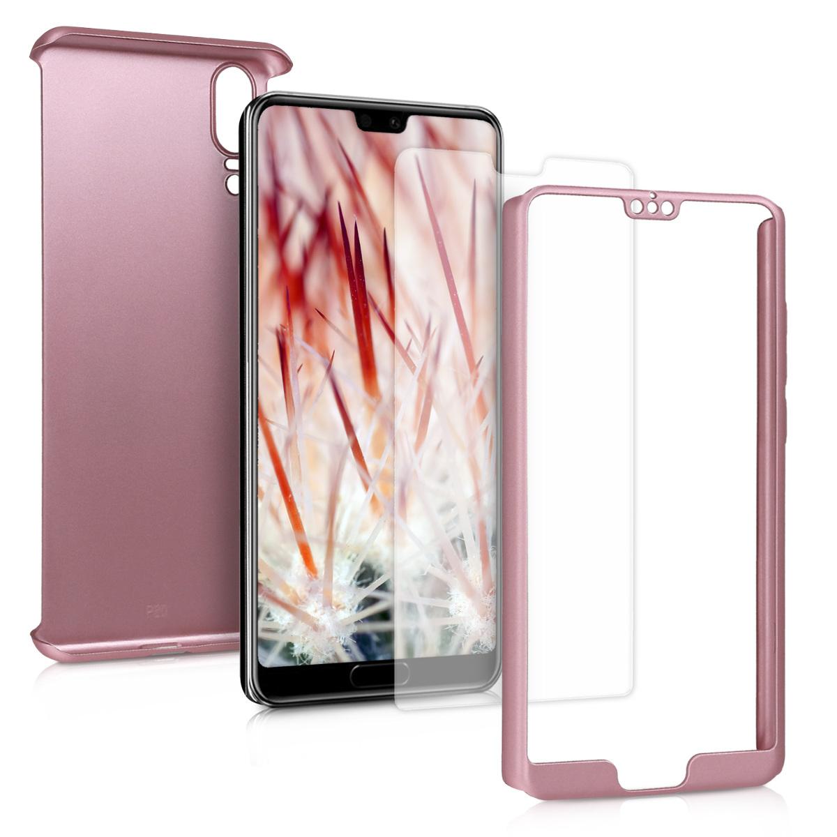 KW Θήκη Full Body για Huawei P20 & Tempered Glass - Μεταλλικό ροζ χαλκινο (45554.31)