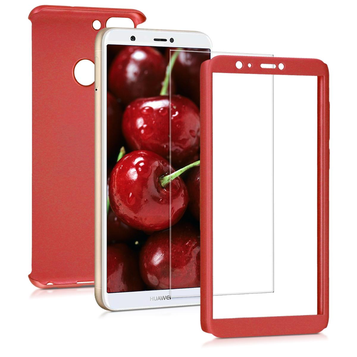 KW Θήκη Full Body Huawei  P Smart 2018 & Tempered Glass - Metallic Dark Red (45559.36)