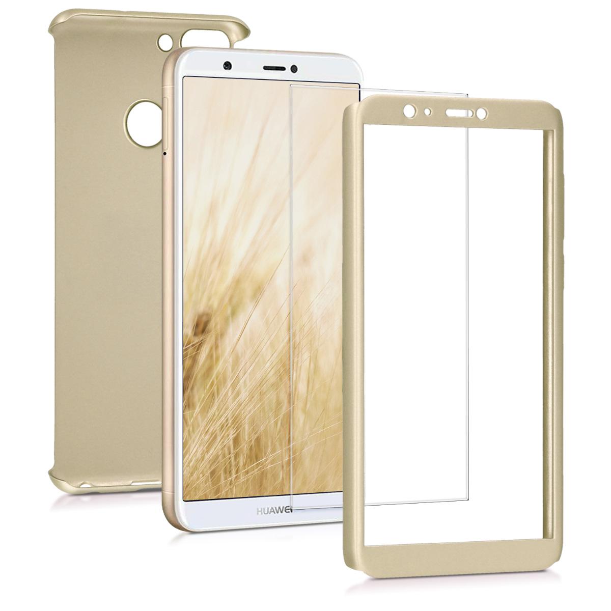KW Θήκη Full Body Huawei Enjoy 7S / P Smart & Tempered Glass - Metallic Gold (45559.66)