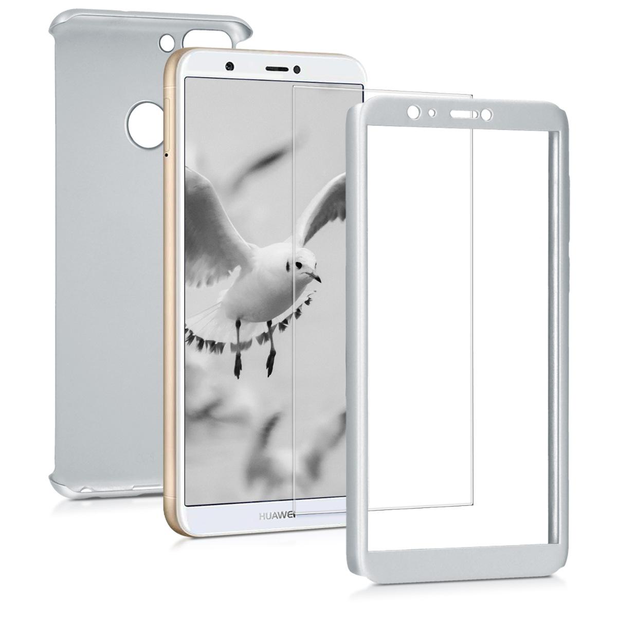KW Θήκη Full Body Huawei Enjoy 7S / P Smart & Tempered Glass - Metallic Silver (45559.67)