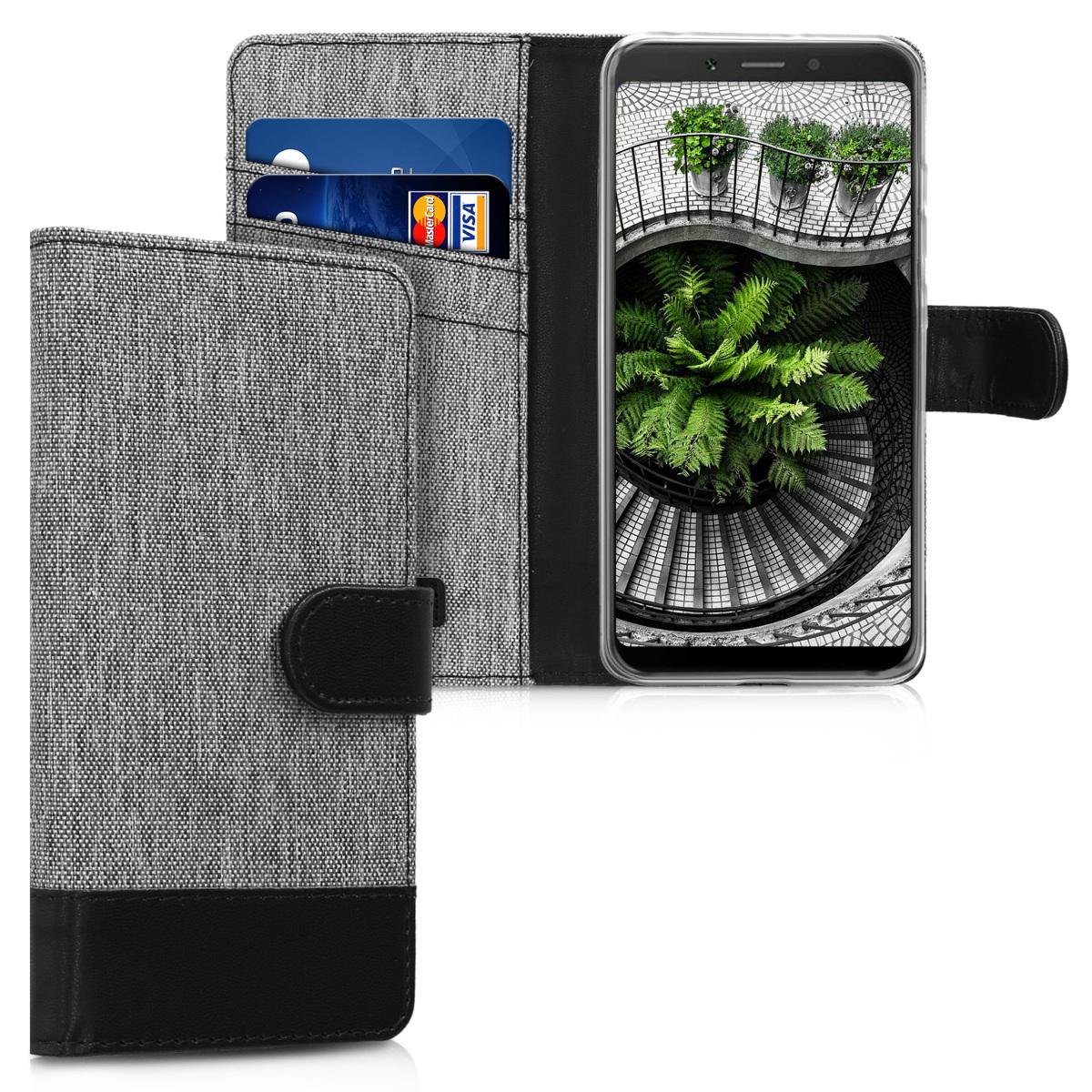 KW Θήκη Πορτοφόλι Xiaomi Redmi 6A - Συνθετικό δέρμα - Grey / Black (45586.22)