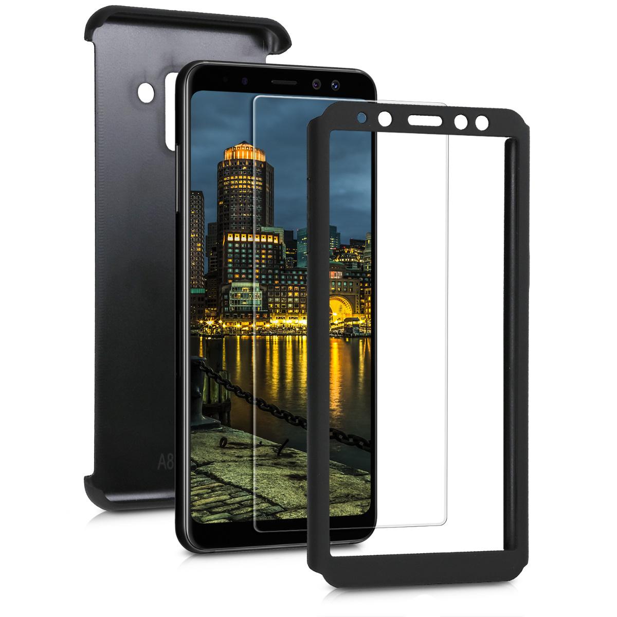 KW Θήκη Full Body για Samsung Galaxy A8 (2018) & Screen Protector - Μαύρο μεταλλικό (45624.68)