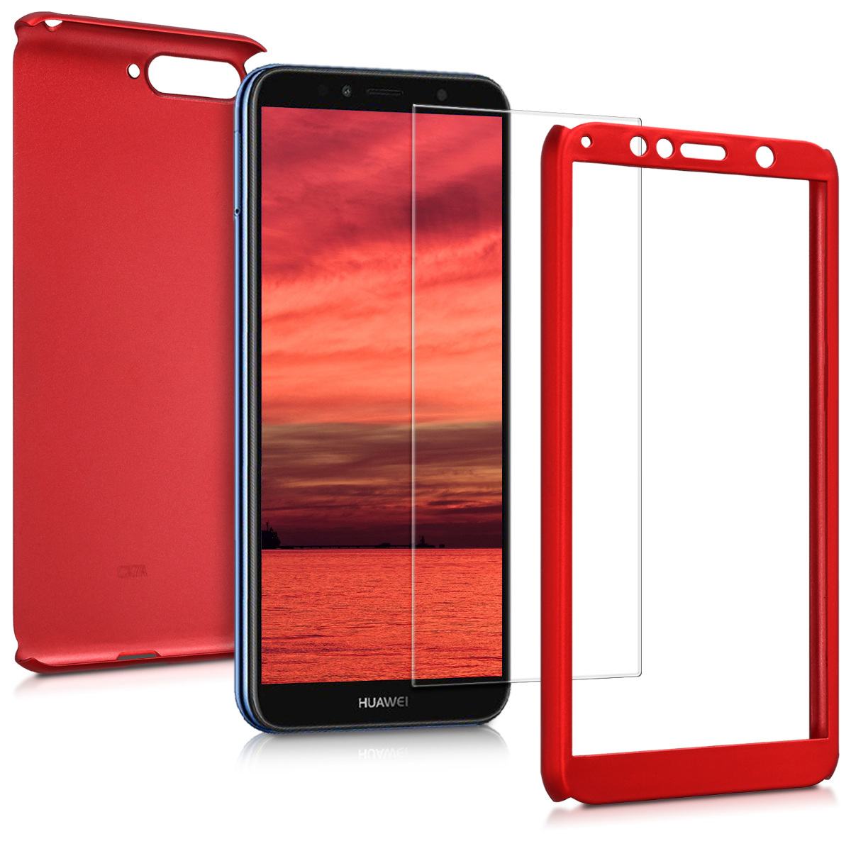 KW Θήκη Full Body with Screen Protector - Huawei Y6 (2018)- Metallic Dark Red (45639.36)