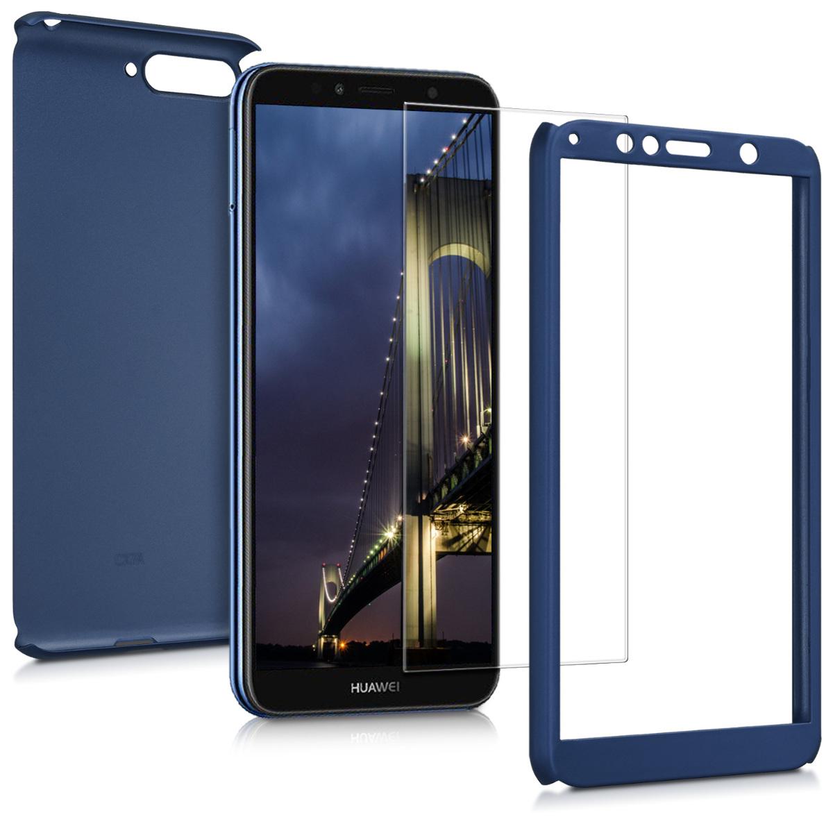 KW Θήκη Full Body Huawei Y6 2018 & Tempered Glass - Μπλε μεταλλικό (45639.64)