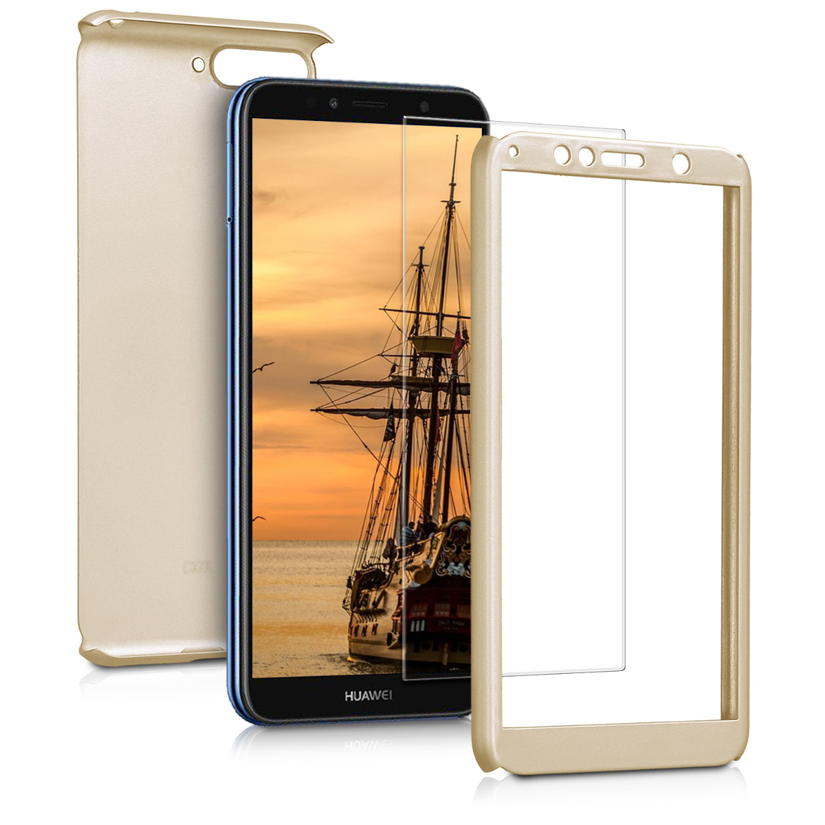 KW Θήκη Full Body with Screen Protector - Huawei Y6 (2018) - Metallic Gold (45639.66)