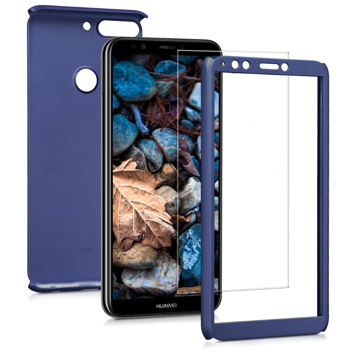 KW Θήκη Full Body για Huawei Y7 / Y7 Prime 2018 & Tempered Glass - Metallic Blue (45640.64)