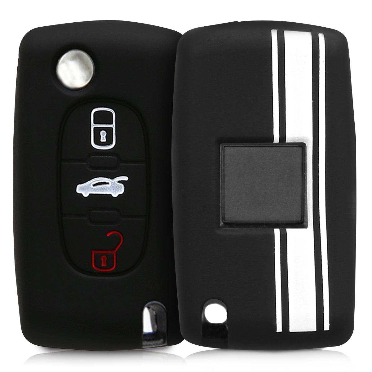 KW Θήκη Κλειδιού Peugeot Citroen - Σιλικόνη - 3 κουμπιά - Μαύρο/Άσπρο (45653.04)