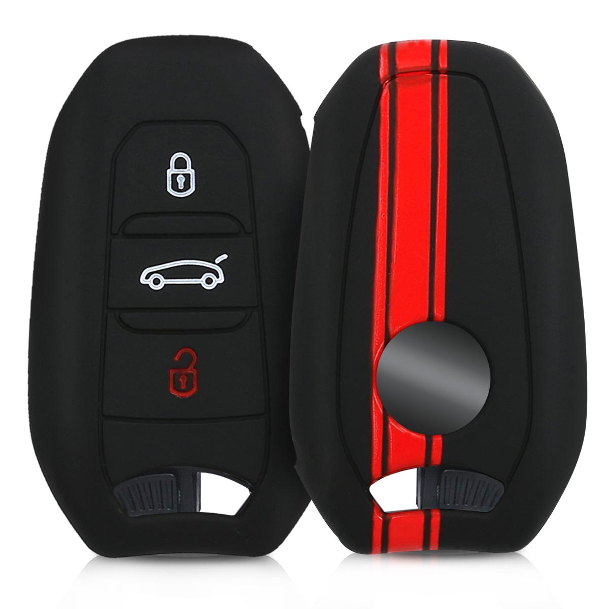 KW Silicone Θήκη Κλειδιού Peugeot Citroen - 3 κουμπιά - Red / Black (45654.01)