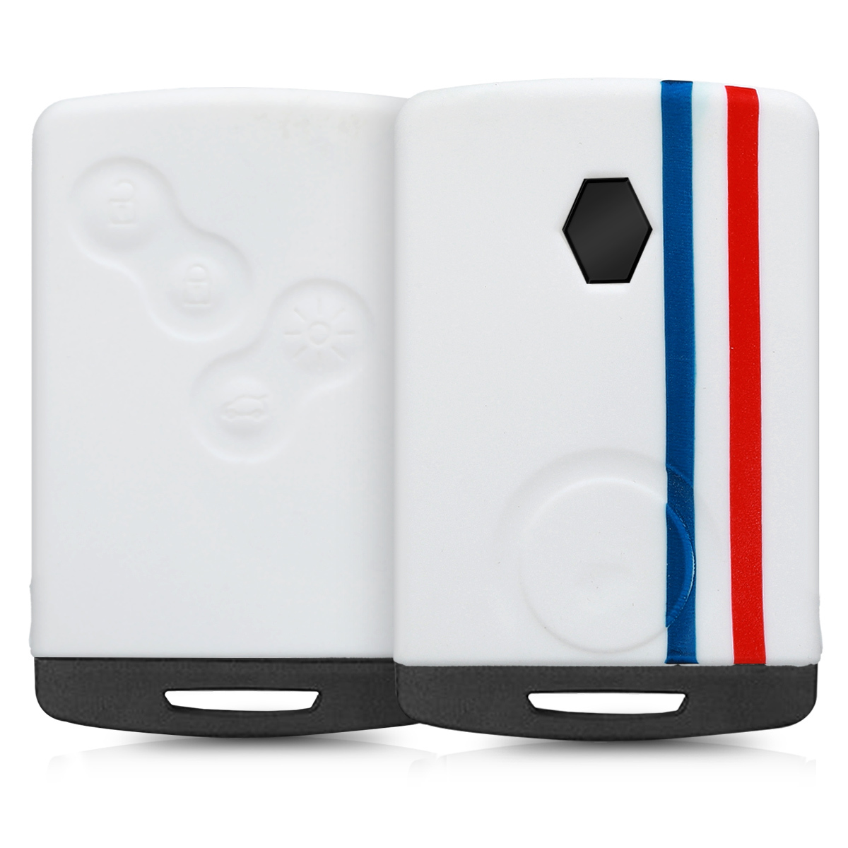 KW Θήκη Κλειδιού Renault - Σιλικόνη - 4 Κουμπιά Keyless Go - Blue / Red / White (45655.10)