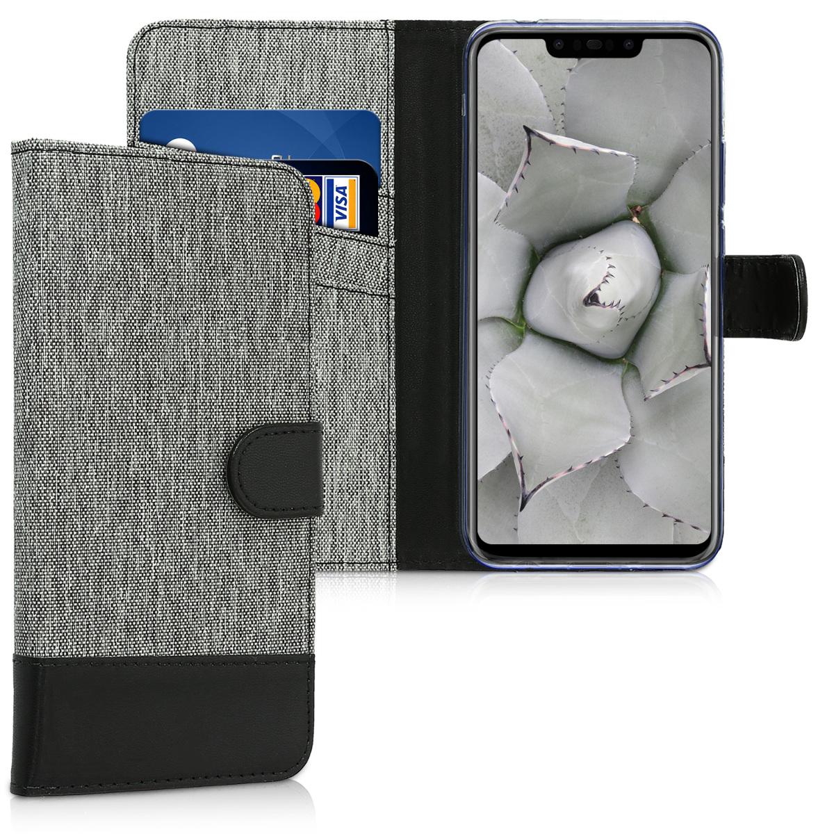 KW Θήκη - Πορτοφόλι Huawei Nova 3 - Grey / Black (45765.01)