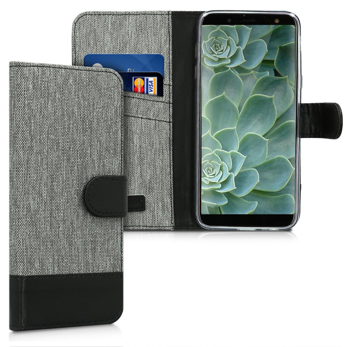 KW Πορτοφόλι Θήκη Samsung Galaxy J6 - Συνθετικό δέρμα - Grey / Black (45797.22)