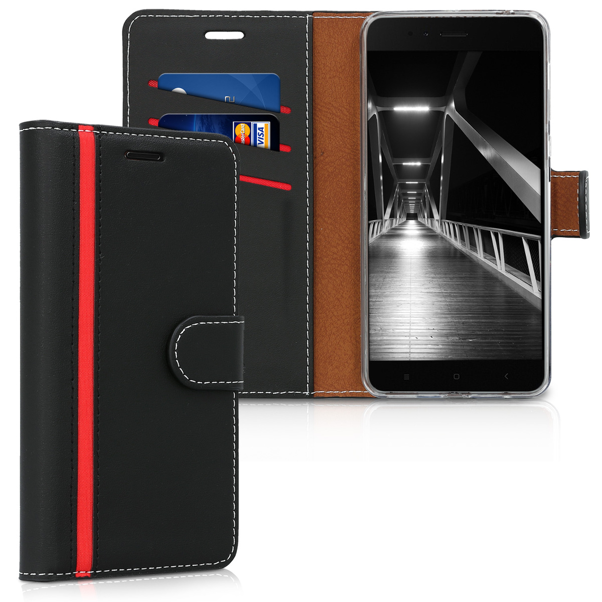 kwmobile Wallet Case for Xiaomi Mi 5X / Mi A1 - Protective PU Leather Flip Cover with Magnetic Closure, Card Slots and Kickstand