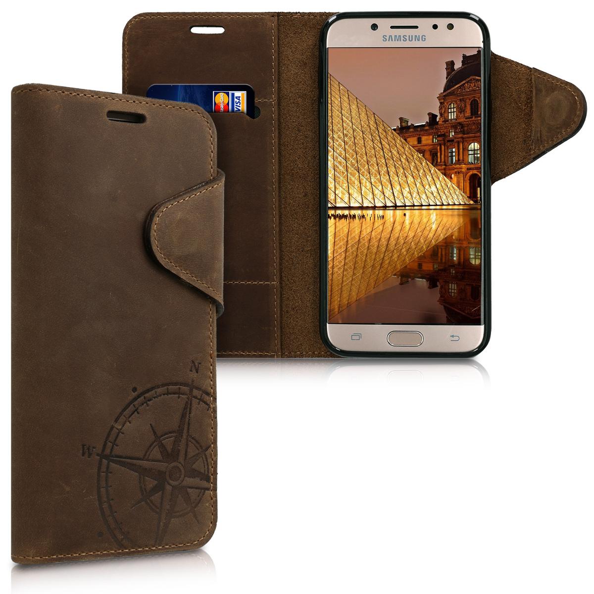 Kalibri Δερμάτινη Suede Θήκη - Πορτοφόλι Samsung Galaxy J7 2017 (Version J730F) - Brown Compass (45814.01)