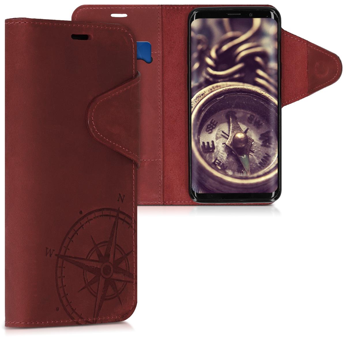 Kalibri Δερμάτινη Suede Θήκη - Πορτοφόλι Samsung Galaxy S9 - Dark Red (45816.02)