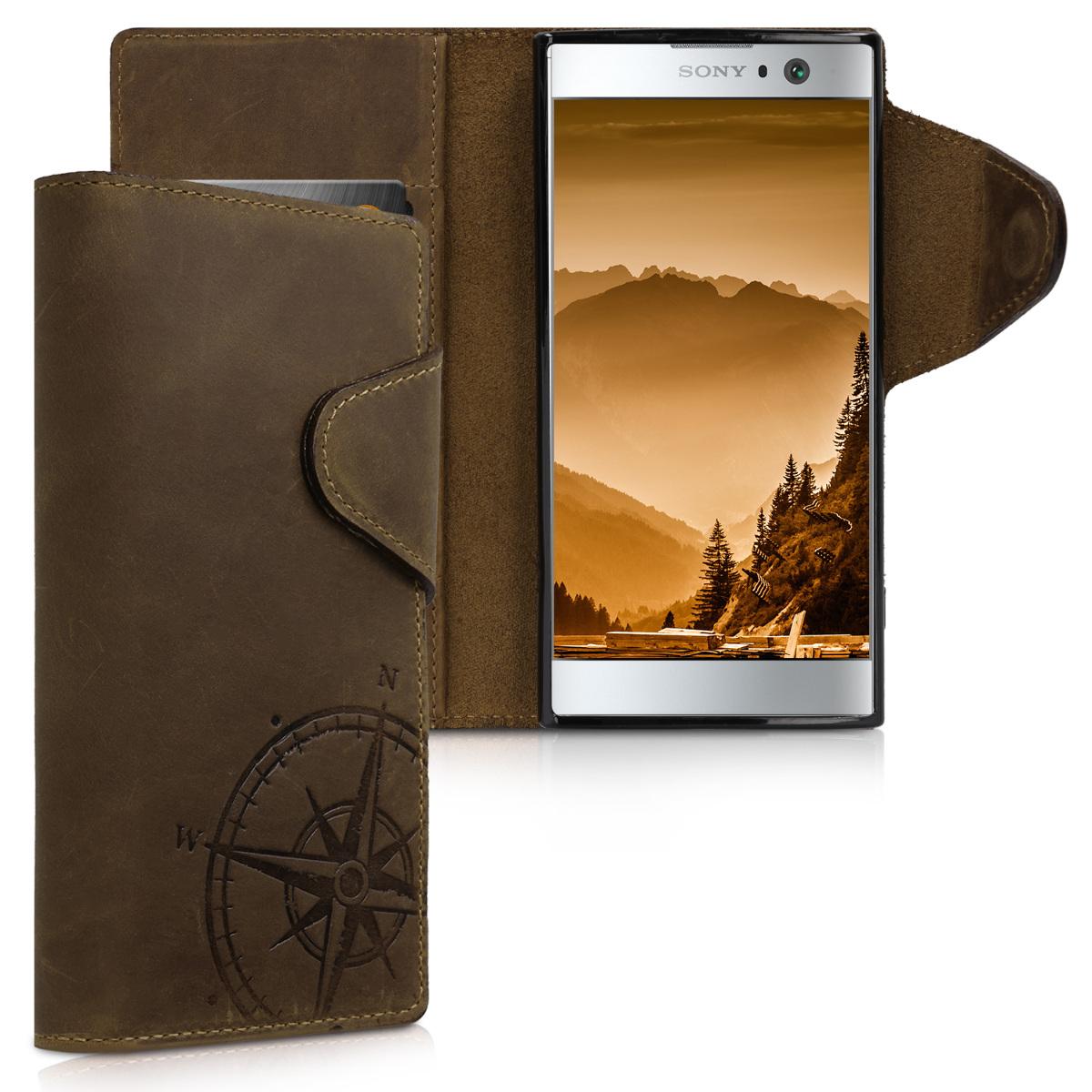 Kalibri Δερμάτινη Suede Θήκη - Πορτοφόλι Sony Xperia XA2 - Brown Compass (45837.01)
