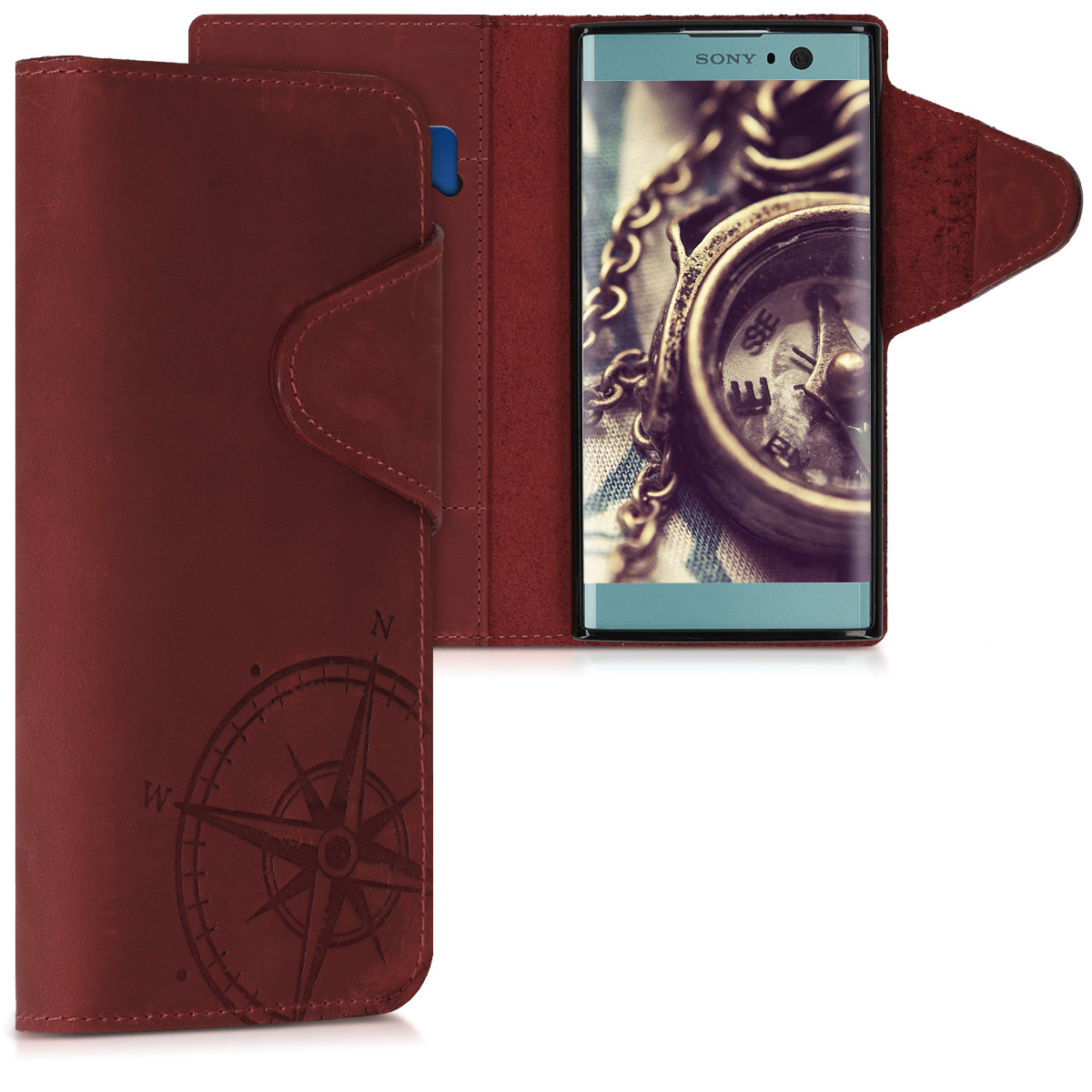 Kalibri Δερμάτινη Suede Θήκη - Πορτοφόλι Sony Xperia XA2 - Dark Red Compass (46719.01)