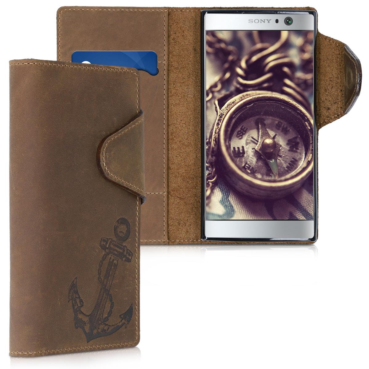 Kalibri Δερμάτινη Suede Θήκη - Πορτοφόλι Sony Xperia XA2 - Καφέ/ Άγκυρα (45837.03)