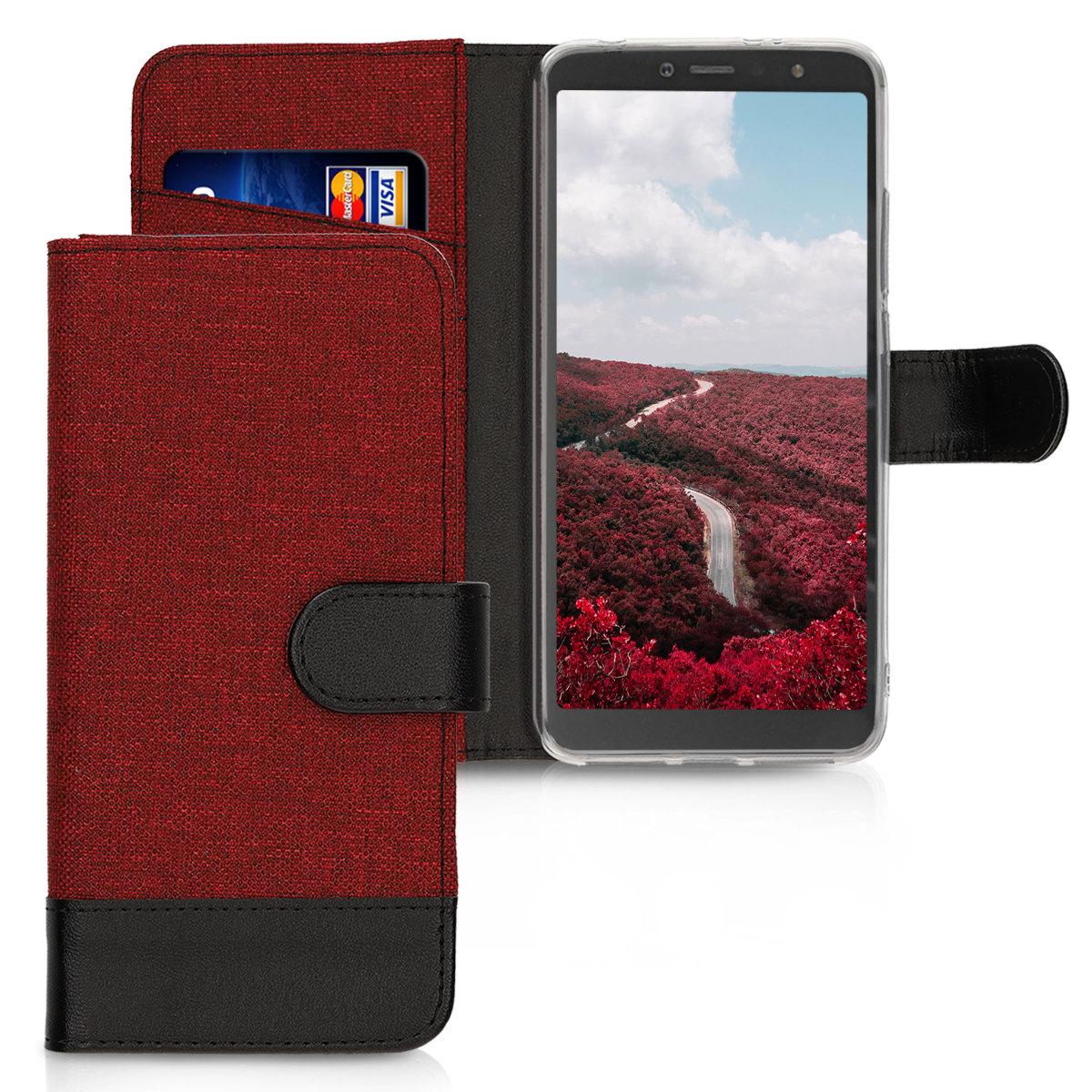 KW Θήκη-Πορτοφόλι Xiaomi Redmi S2 - Dark Red / Black Canvas (45871.20)