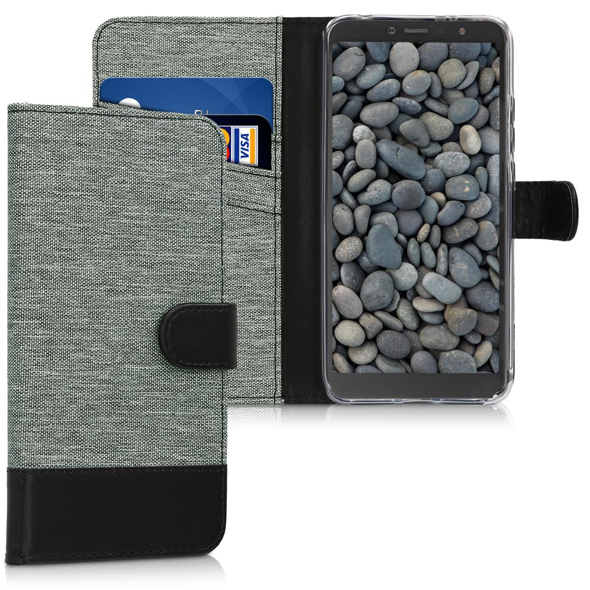 KW Θήκη-Πορτοφόλι Xiaomi Redmi S2 - Grey / Black Canvas (45871.22)