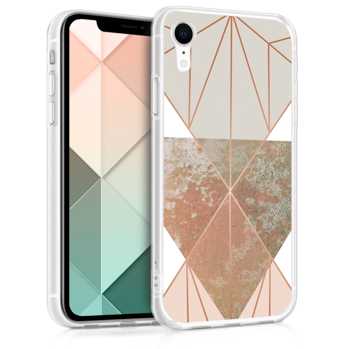 KW Θήκη Σιλικόνης iPhone XR - Beige / Rose Gold / White (45912.13)