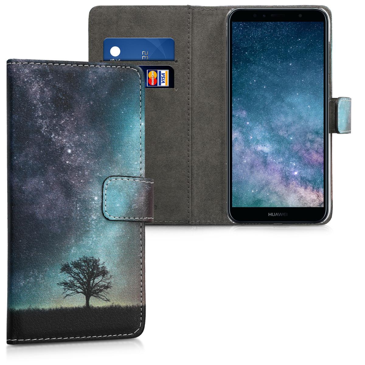 KW Θήκη Πορτοφόλι Huawei Y6 (2018) -  Blue / Grey / Black (45923.05)