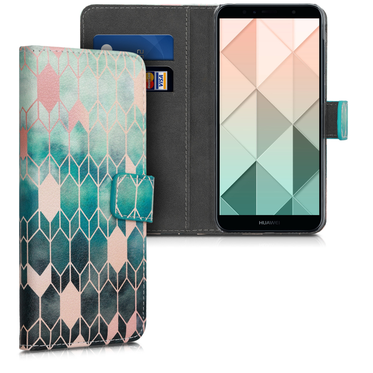 KW Θήκη - Πορτοφόλι Huawei Y6 2018 - Leather Protective Flip Cover - Blue / Rose Gold (45923.11)