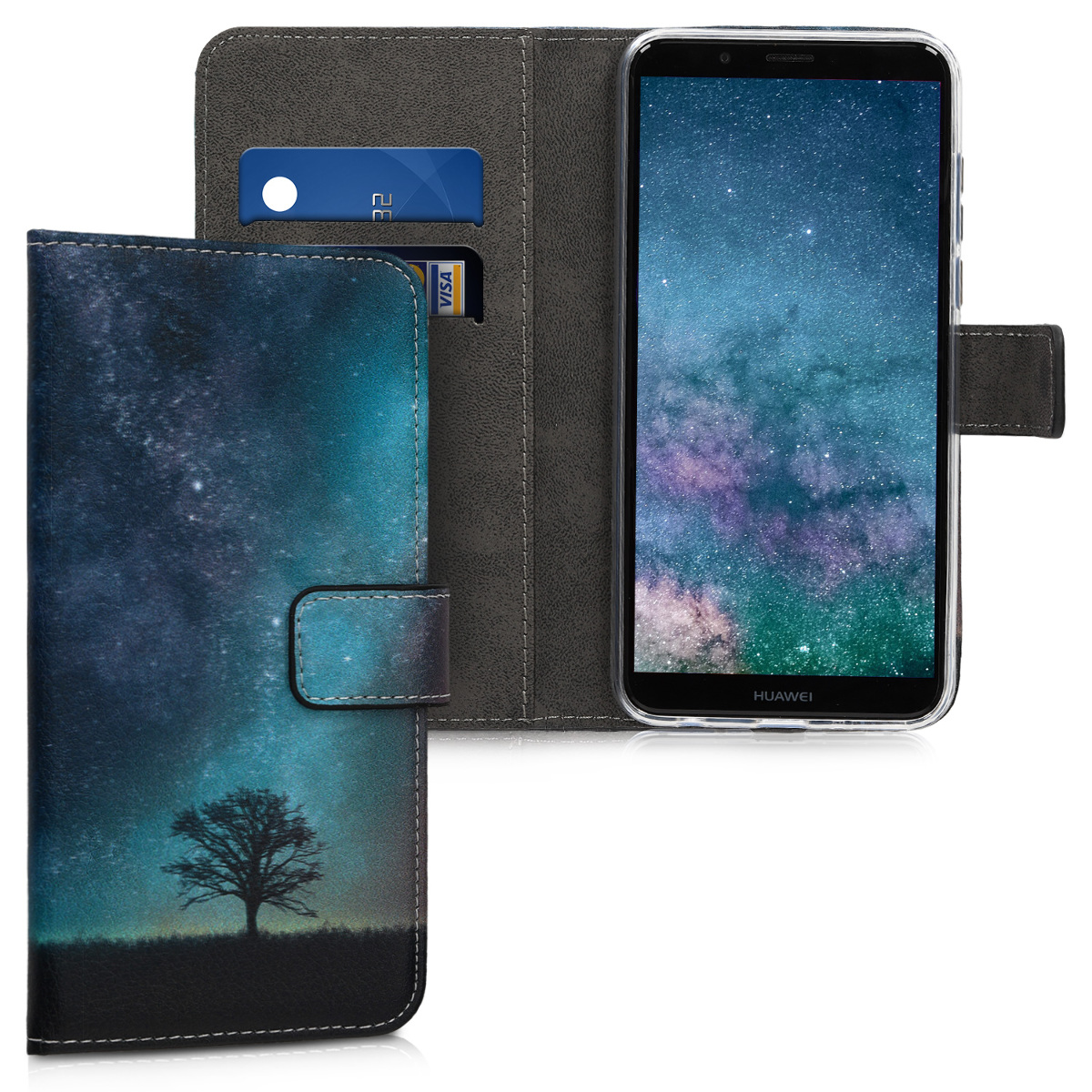 KW Θήκη - Πορτοφόλι Huawei Y7 / Y7 Prime 2018 - Galaxy Tree (45924.03)