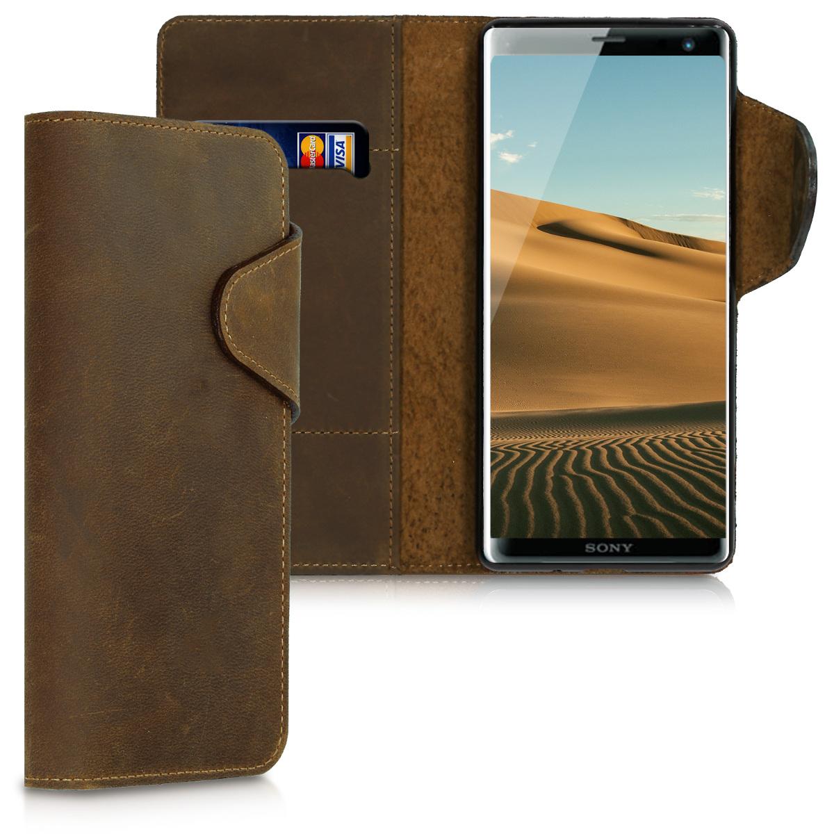 Kalibri Δερμάτινη Suede Θήκη - Πορτοφόλι Sony Xperia XZ3 - Brown (45963.05)