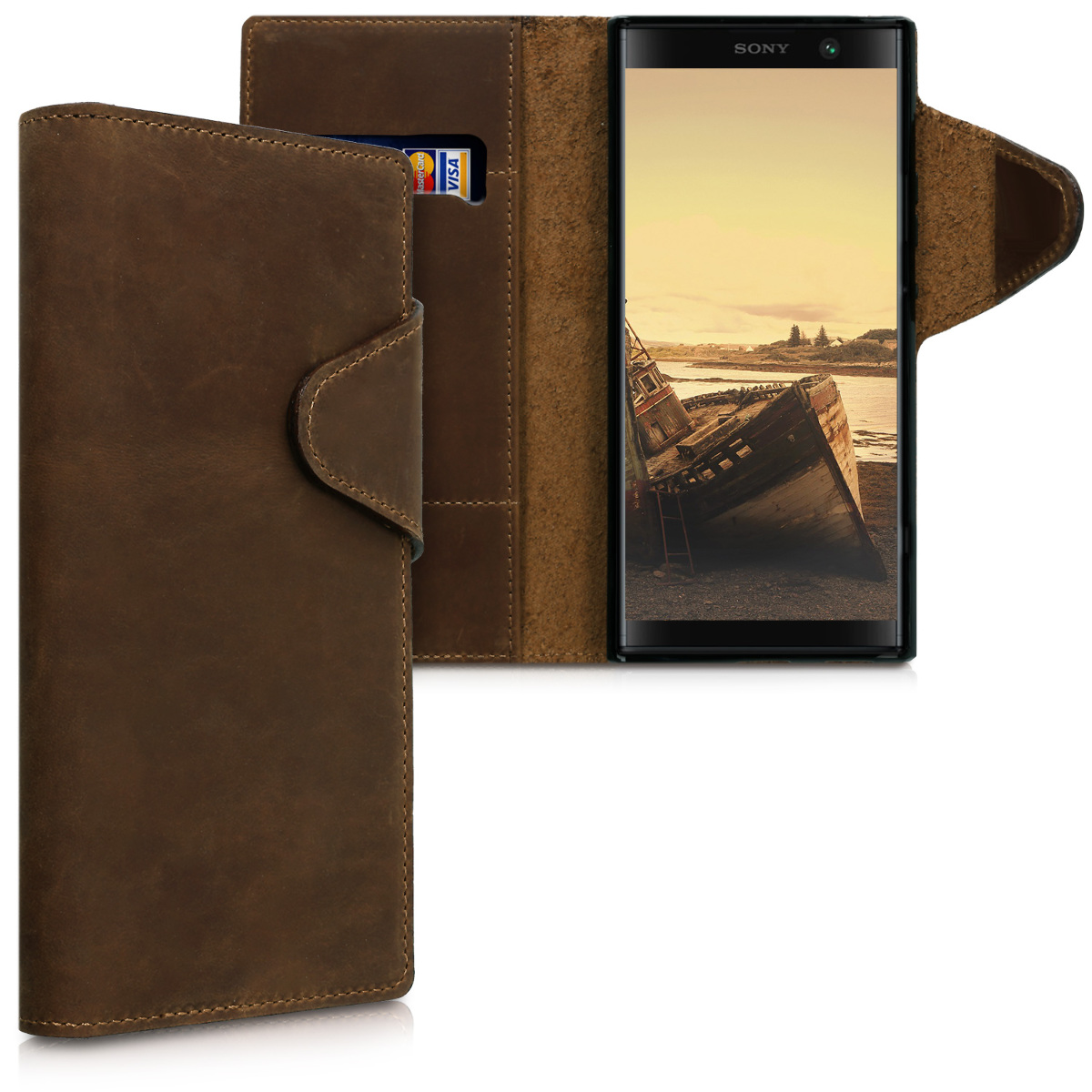 Kalibri Δερμάτινη Suede Θήκη - Πορτοφόλι Sony Xperia XA2 Plus - Brown (45987.05)