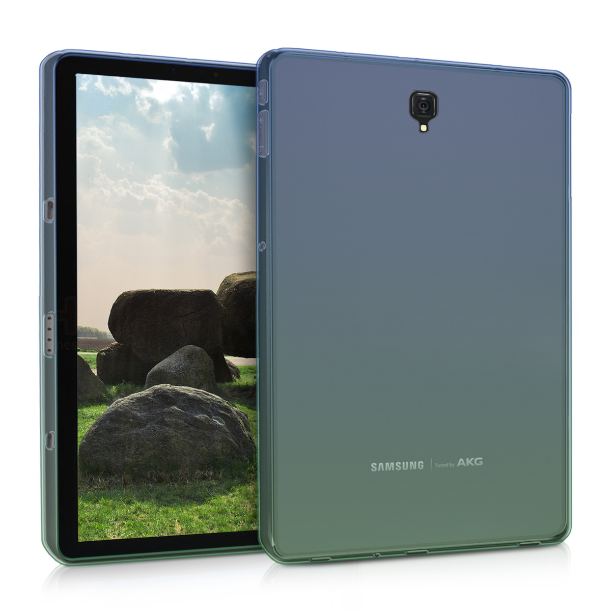 KW Θήκη Σιλικόνης Samsung Galaxy Tab S4 10.5 - Soft Flexible Shock Absorbent Protective Cover - Blue / Green / Transparent (45999.02)