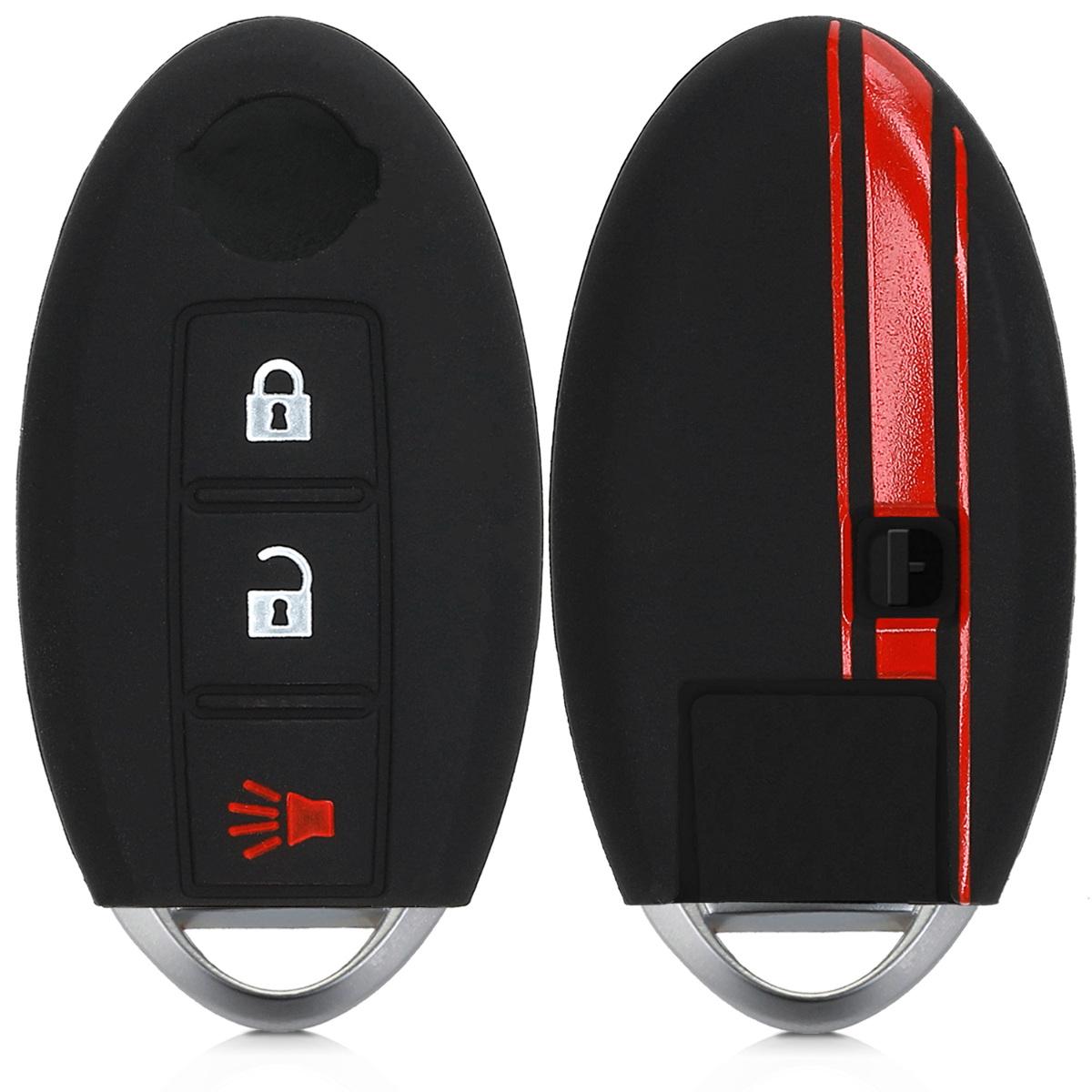 KW Silicone Θήκη Κλειδιού Nissan - 3 Κουμπιά - Red / Black (46050.02)