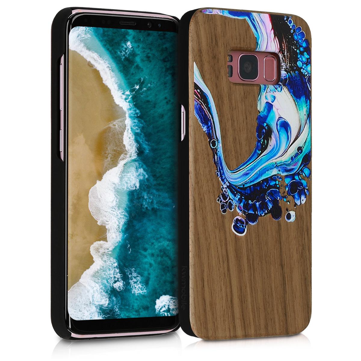 KW Ξύλινη Θήκη Samsung Galaxy S8 - Blue Wave / Brown (46074.03)